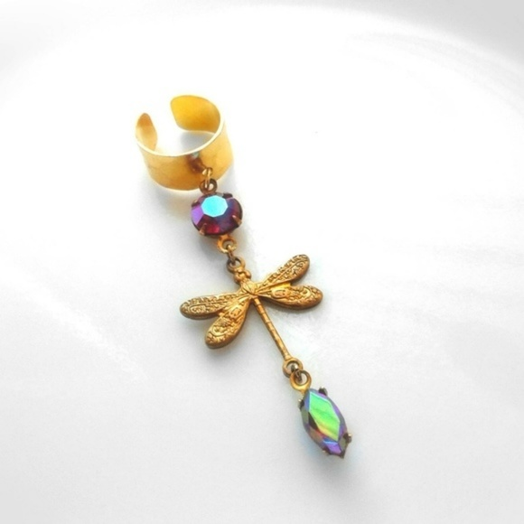 Handmade - ArtisanJewelryGifts Jewelry - Antique Gemstones Dragonfly Ear Cuff